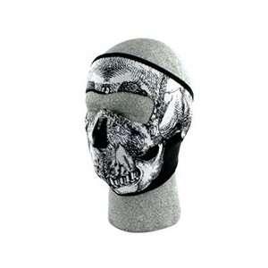 Face Mask, Glow in the Dark, Black & White Skull Face