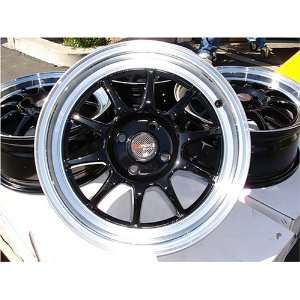 Drag (Dr 16) 15 Inches 4x100 Black with Polish Lip Wheels, A SET OF 4