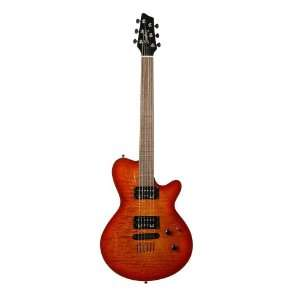Solid Body Electric Guitar (Cherry Burst Flame) Musical Instruments
