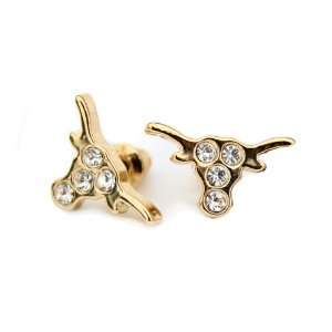 Of Texas Earrings   Longhorn Stud Earrings, Gold Tone