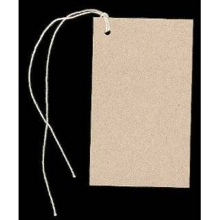 100 Large Blank KRAFT Hang Tags (2 1/8x3 5/8) & 100 Cut Strings for