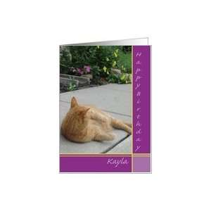 Kayla Happy Birthday Orange Tiger Cat Card Health