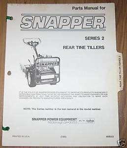 Snapper Series 2 Rear Tine Tiller Parts Manual