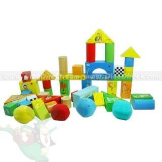 Children Toy Cartoon Printed Wood Building Blocks   DinoDirect