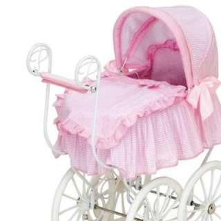 New Victorian Pram Pink 18 Doll Baby Stroller Buggy