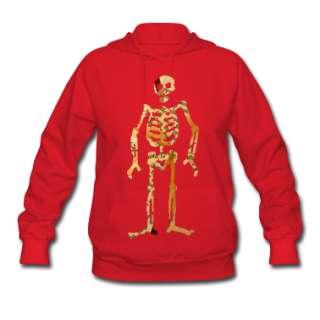 Red skeleton art Hoodies  Womens Hooded Sweatshirt designed by