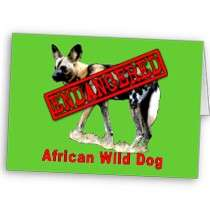 African Wild Dog Endangered Animal Products Greeting Card by
