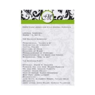 Black Damask Swirl Apple Green Wedding Program Custom Invites from