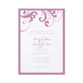 Lilac and White Swirls Frame Wedding Invitation by TheBrideShop