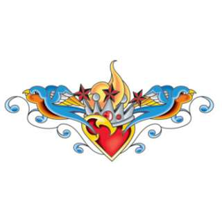 Heart and Two Birds Temporary Tattoo 3x6  Body Candy Body Jewelry