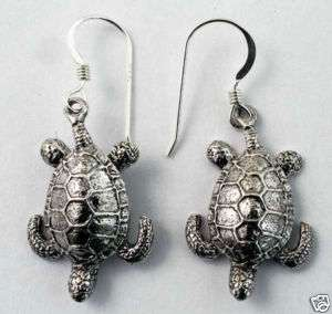 Sea Turtle Earrings Scuba Skin Diver Jewelry Sterling