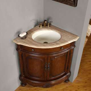 Corner Bathroom Sinks on Travertine Stone Top Dark Walnut Double Sink Bathroom Vanity Cabinet