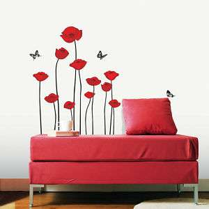 RED POPPY ★ HOME DECOR MURAL ART WALL DECAL STICKER