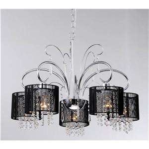 Modern Black Drum Crystal 5 Light Ceiling Chandelier Pendant Lighting