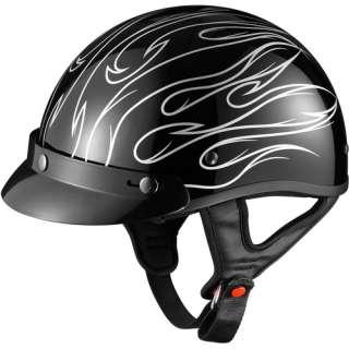 GLX DOT Half Motorcycle Helmet, Stria Silver, M