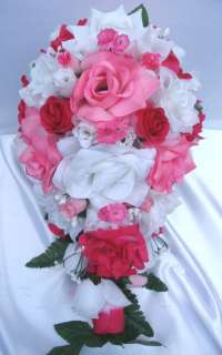 21pc Bridal bouquet wedding flower FUCHSIA / HOT PINK