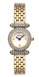 Bulova Ladies Mother Pearl Crystal G. Tone Watch 98L124