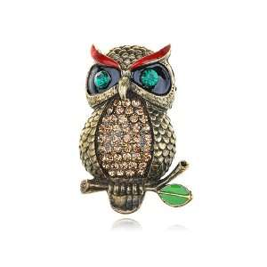 Inspired Light Smoked Topaz Crystal Rhinestone Fierce Owl Pin Brooch
