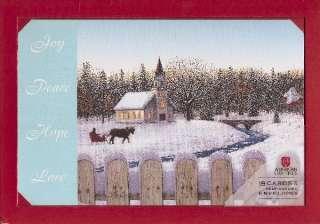 Christmas Cards Boxed Church Horse Sleigh Snow NIB