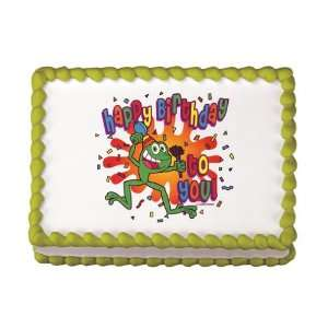 Edible Frog Birthday Cake Decal (1 pc):  Grocery & Gourmet