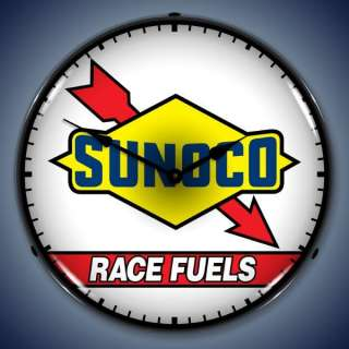 Sunoco Race Fuels Gas & Oil Backlit Clock Free S&H