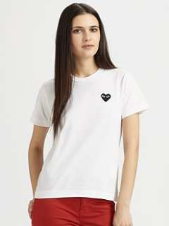 Comme des Garcons Play   Cotton Jersey Heart Emblem Tee