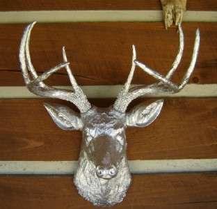 CHROME MODERN ABSTRACT ART DECO BUCK DEER HEAD 8 POINT WHITETAIL MOUNT