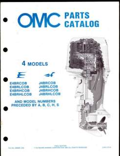 1985 OMC / JOHNSON / EVINRUDE 4HP OUTBOARD MOTOR PARTS MANUAL