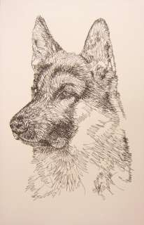 German shepherd dog art signed kline word drawing #239 your dogs name