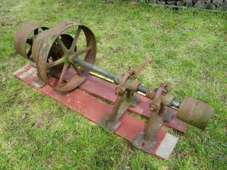 POWERED BY ANTIQUE HIT AND MISS ENGINE FLAT BELT PULLEY CAST IRON