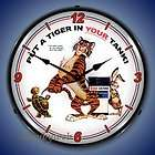 Style Esso Tiger Gas Service Station Backlit Lighted Wall Clock