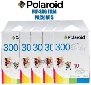 POLAROID 300 INSTANT CAMERA FILM PIF 300   5 PACK , 50 FILM TOTAL