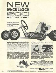 Vintage 1960s McCulloch 200 Racing Go Kart Ad