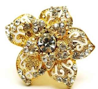 New Gold Crystal Orchid Flower Crystal Cocktail Ring