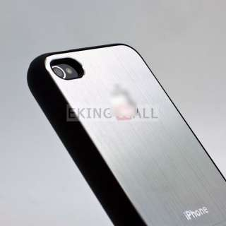 Aluminum Metal Back Skin Hard Case Cover for Apple iPhone 4 4S Silver