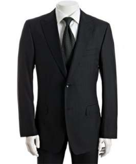 Zegna black striped wool silk 2 button Fit Rom suit with flat front