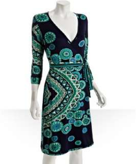 JB by Julie Brown blue magnolia print jersey wrap dress   up