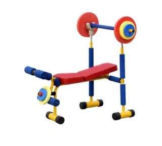 childrens kids pretend play weight lifting bench set
