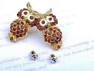 Beautiful Ruby Topaz Crystal Rhinestone Big Eyed Owl Stud Earrings