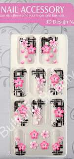 3D Pink Black Glitter Peach Flower NAIL Art Stickers 08