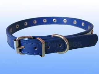 Leather Studded Puppy Cat Pet Dog Collar Small S Blue