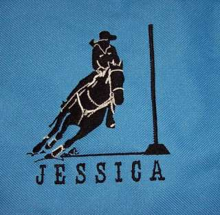Pole Bending Bender BLUE Duffle Bag horse PERSONALIZED