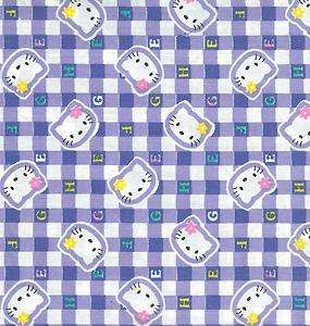 OOP HELLO KITTY BLUE SQUARES FABRIC   4.25 YARDS