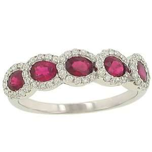 5 Stone Oval Ruby(1.25ct) & Pave Diamond(.29ct) Ring