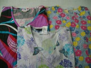 Medical Dental Scrubs Lot of 9 Solid & Printed Shirts Tops 3XL LOS