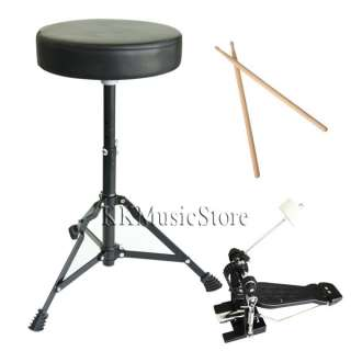 NEW WHITE 5 PIECE COMPLETE DRUM SET+CYMBAL+THRONE+STOOL