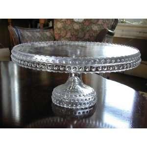 11 Crystal Hobnail Glass Pedestal Cake Stand Saver